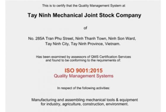 Công ty đạt Chứng nhận ISO 9001:2015 và ISO 45001:2018